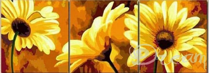 "Фото Картина по номерам – триптих ""Цветы"""