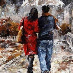 "Фото Картина по номерам ""Пара под зонтом"""