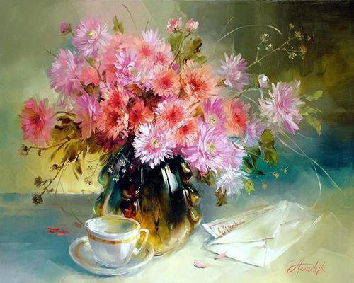 """Фото Картина по номерам """"Букет цветов и письмо"""""""