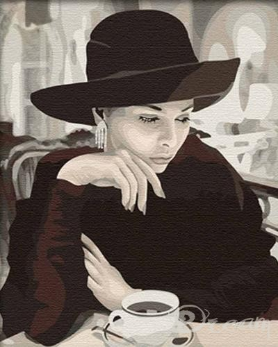 "Картина по номерам ""Девушка в кафе"" Фото 1"