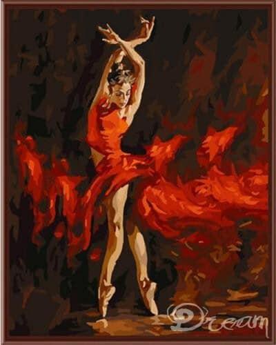 """Фото Картина по номерам """"Балерина в красном"""""""