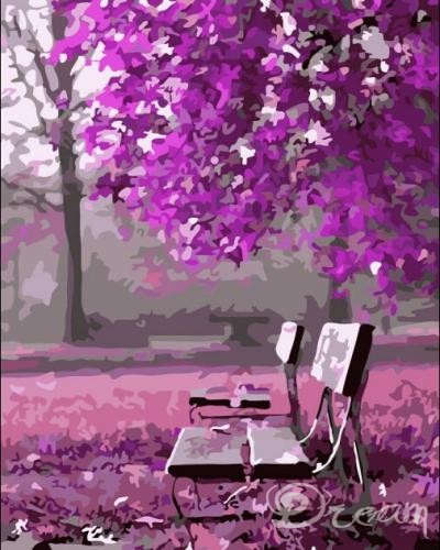 "Фото Картина по номерам ""Фиолетовая лавочка"""