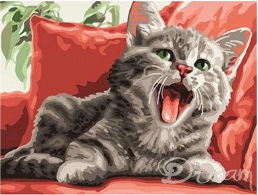 """Фото Живопись по номерам """"Зевающий котенок"""""""