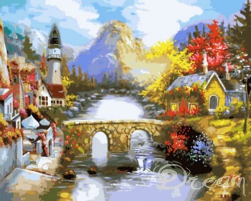 "Фото Картина по номерам ""Маяк у реки"""