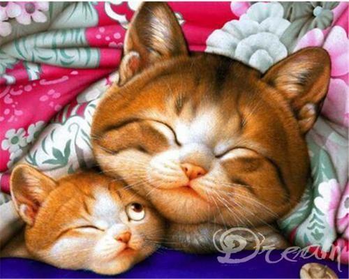 "Фото Картина по номерам ""Кошка и котенок"""