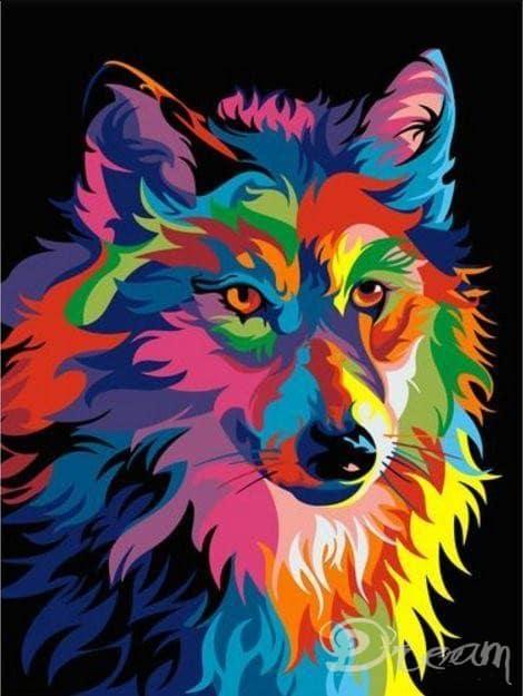 """Фото Живопись по номерам """"Радужный волк"""""""