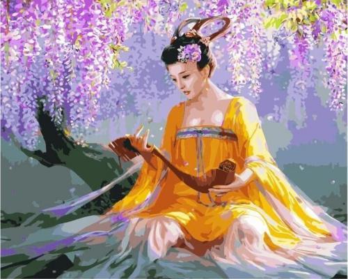 """Фото Картина по номерам """"Девушка и цветущее дерево"""""""