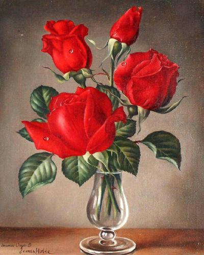 """Фото Картина по номерам """"Красные розы"""""""