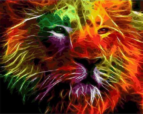 """Фото Картина по номерам """"Огеный лев"""""""