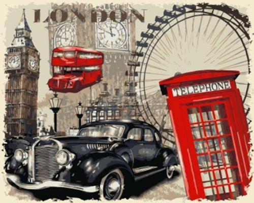 "Фото Картина по номерам ""Калаж Лондон"""