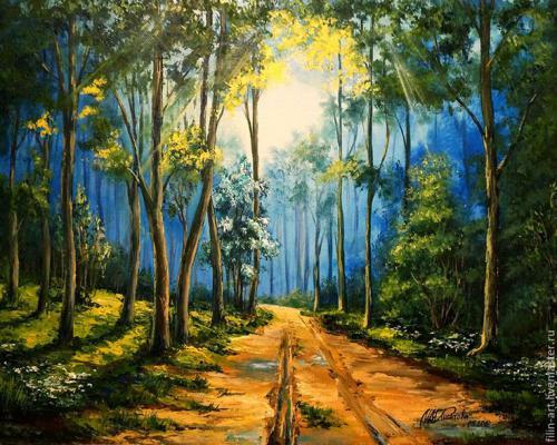 """Фото Картина по номерам """"Тропа в лесу"""""""