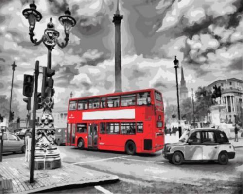 """Фото Картина по номерам """"Красный автобус"""""""
