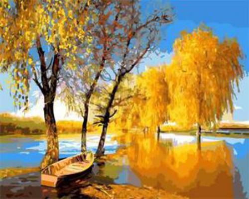 "Фото Картина по номерам ""Осенние деревья"""