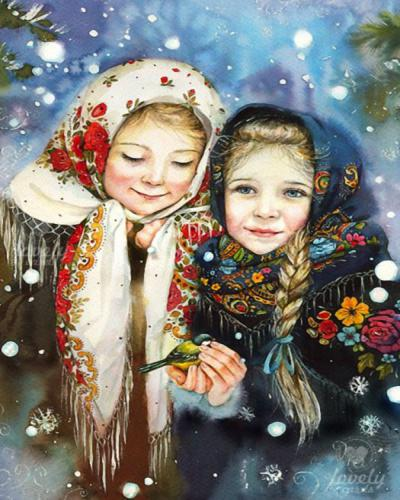 "Фото Картина по номерам ""Девочки в платках"""