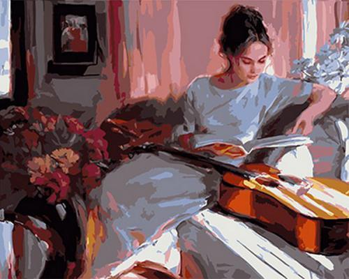 """Фото Картина по номерам """"Девушка и гитара"""""""