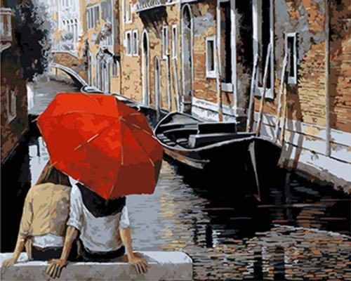 """Фото Картина по номерам """"Пара под зонтом у канала"""""""
