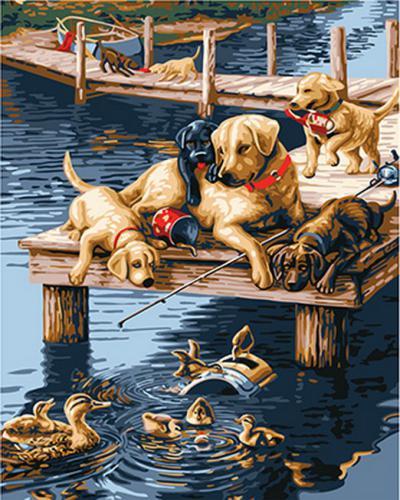 "Фото Картина по номерам ""Лабрадоры на рыбалке"""