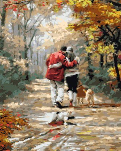 """Фото Картина по номерам """"Пара с собакой"""""""