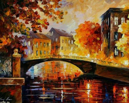 """Фото Картина по номерам """"Осенний мост"""""""