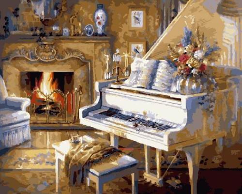 """Фото Картина по номерам """"Белый рояль"""""""