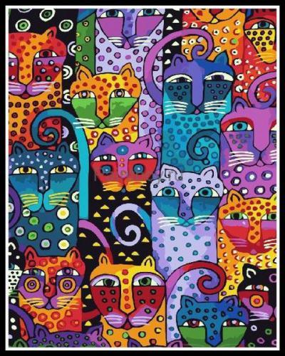 """Фото Картина по номерам """"Разноцветные кошки"""""""
