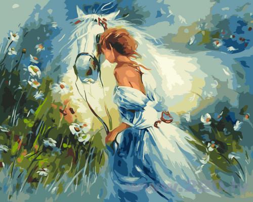 """Фото Картина по номерам """"Девушка и конь"""""""