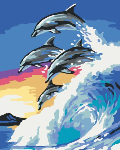 """Живопись по номерам """"Дельфины"""" Фото 1"""