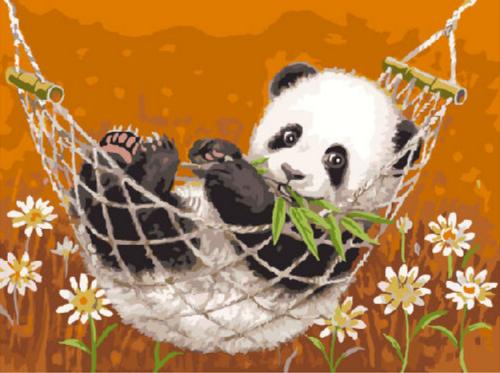"Фото Живопись по номерам ""Панда в гамаке"""