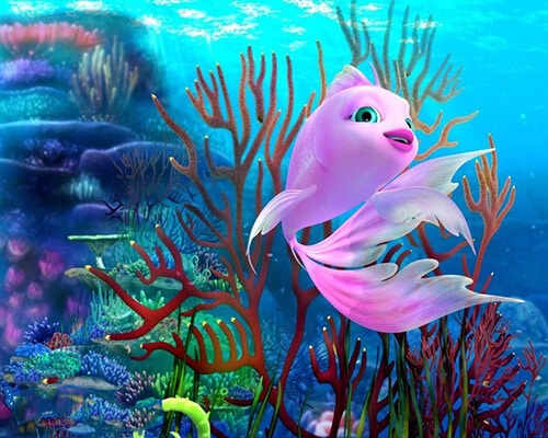 "Фото Картина по номерам ""Розовая рыбка из мультика"""