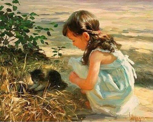 "Фото Картина по номерам ""Девочка с котенком"""