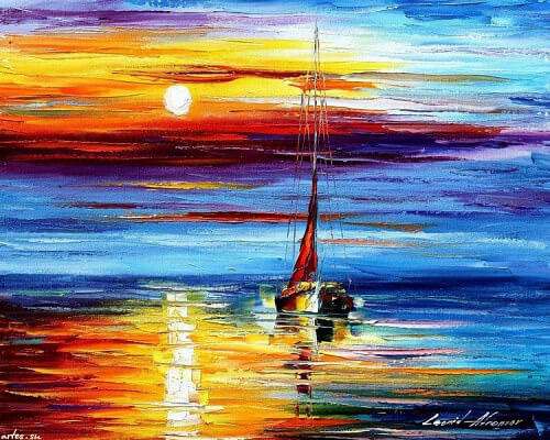 """Фото Картина по номерам """"Афремов-Лодка в море"""""""