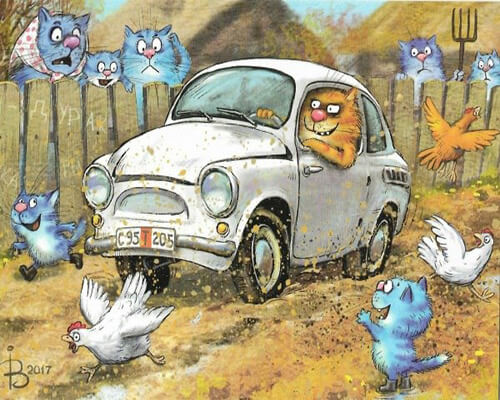 "Фото Картина по номерам ""Кот на машине"""