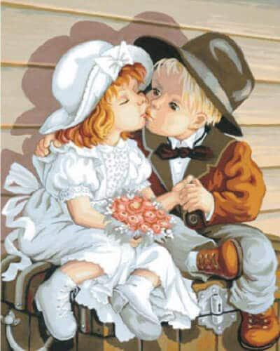 """Фото Картина по номерам """"Детский поцелуй"""""""