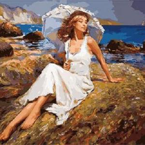 """Фото Картина по номерам """"Девушка на камне"""""""