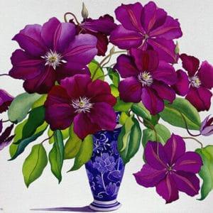 "Фото Картина по номерам ""Цветы в синей вазе"""