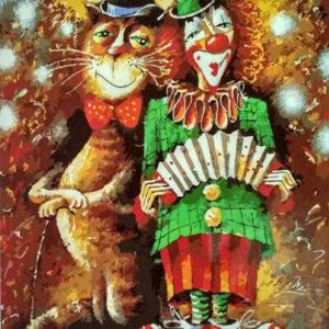 "Фото Картина по номерам ""Кот и Клоун"""
