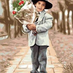 """Фото Картина по номерам """"Мальчик с букетом"""""""