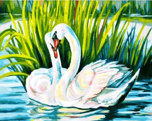 """Фото Картина по номерам """"Пара лебедей"""""""