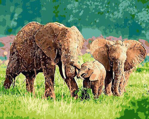 """Фото Картина по номерам """"Семейство слонов"""""""