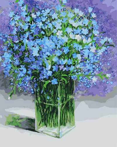 """Фото Картина по номерам """"Голубые цветочки"""""""