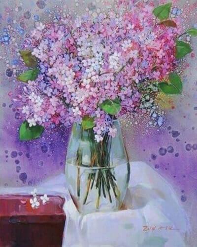 "Фото Картина по номерам ""Розовые цветочки"""