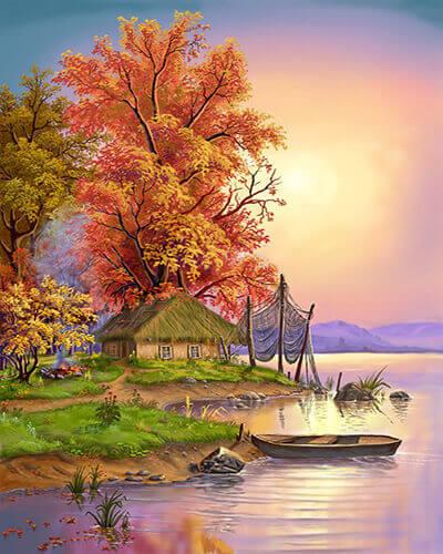 """Фото Картина по номерам """"Лодка на закате"""""""
