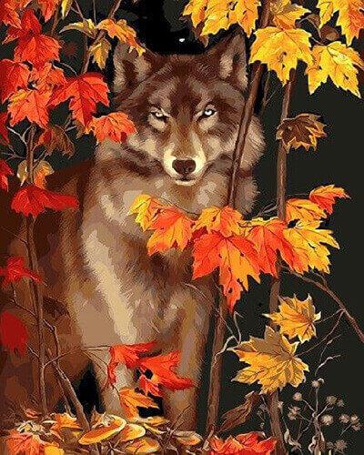 """Фото Картина по номерам """"Волк в осенних листьях"""""""