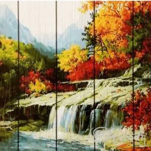 """Фото Картина по номерам по дереву """"Водопад"""""""