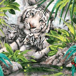 """Фото Картина по номерам """"Белые тигры"""""""